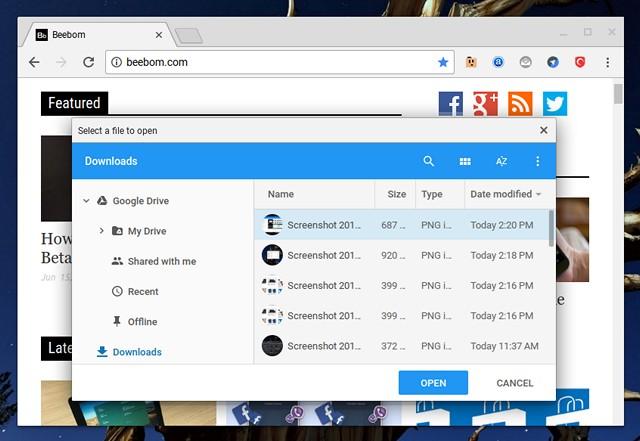Chromebook Shortcut open file in browser