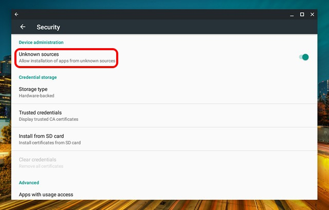 Chromebook allow unknown sources for android apps