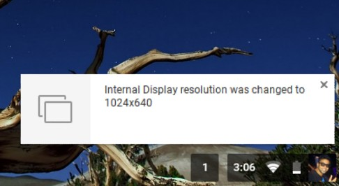 Chromebook shortcuts change screen resolution