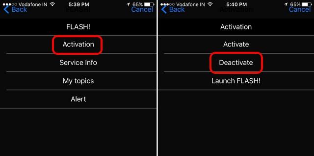Deactivate flash messages iPhone
