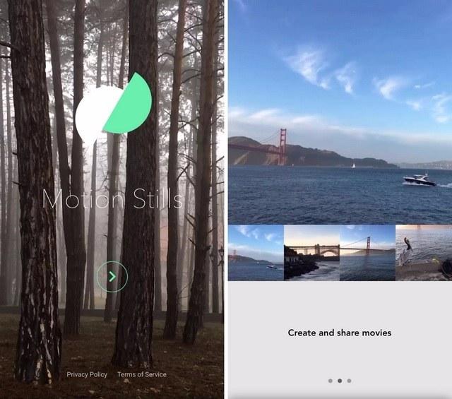 Motion Stills app welcome