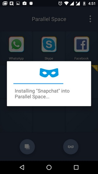 Paralle space app installing incognito
