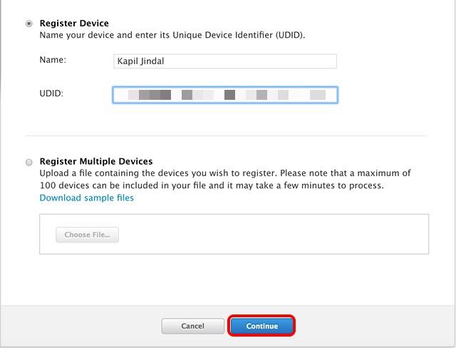 Register device Apple Developer