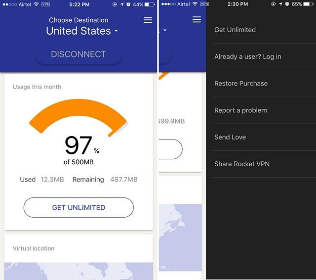 Rocket VPN iPhone review interface