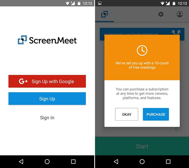 ScreenMeet Android app start up