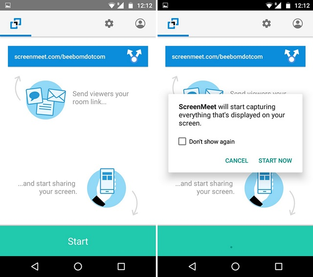 Share Screen Android ScreenMeet