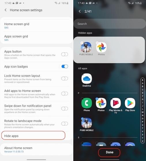 скрытие приложений на Samsung 2