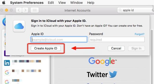 iCloud -bb- Create Apple ID Mac