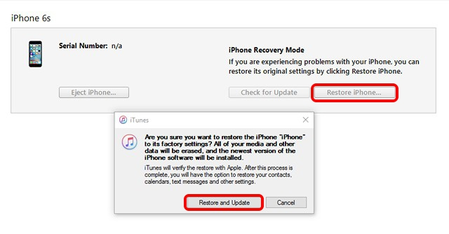iTunes iPhone restore to iOS 9 from iOS 10