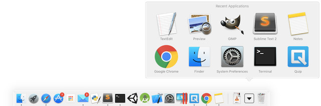 mac commands recents app dock