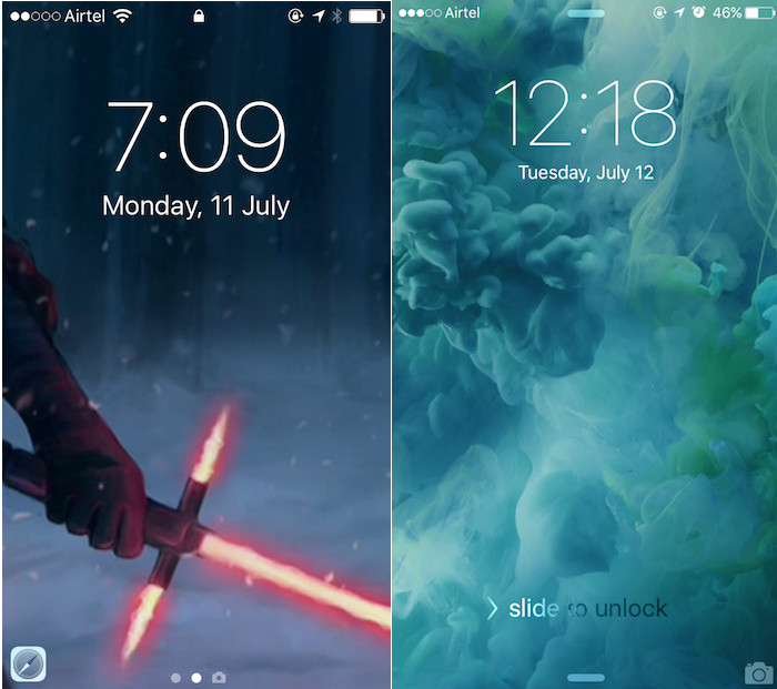 iOS 10 Lock-screen (Left) vs iOS 9 Lock-screen (Right)