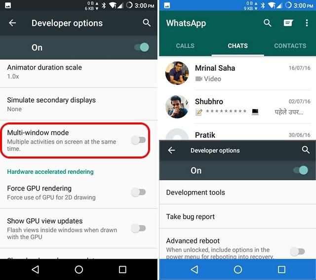 Android N split screen multitasking