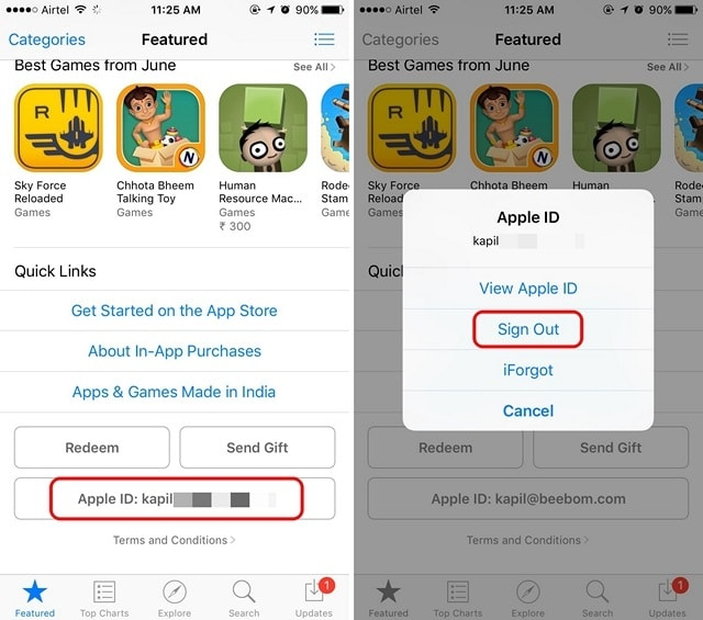 Apple App Store sign out