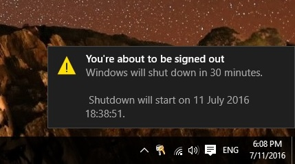 Auto shutdown Windows 10 PC notification