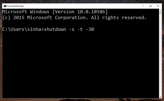 Auto shutdown Windows 10 command prompt