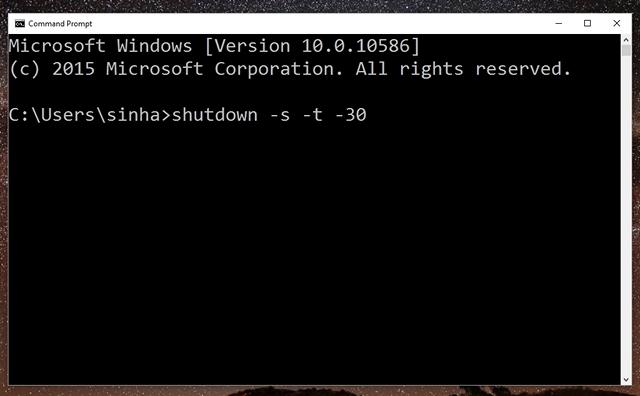 Auto shutdown Windows 10 command prompt