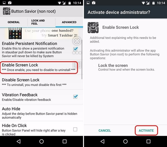 Button Savior enable screen lock