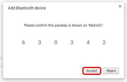 Confirm Bluetooth passkey Chrome OS
