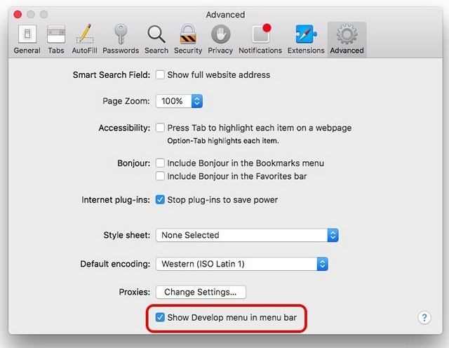 Enable Develop Menu Mac