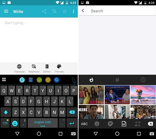 Ginger Keyboard Android GIF feature