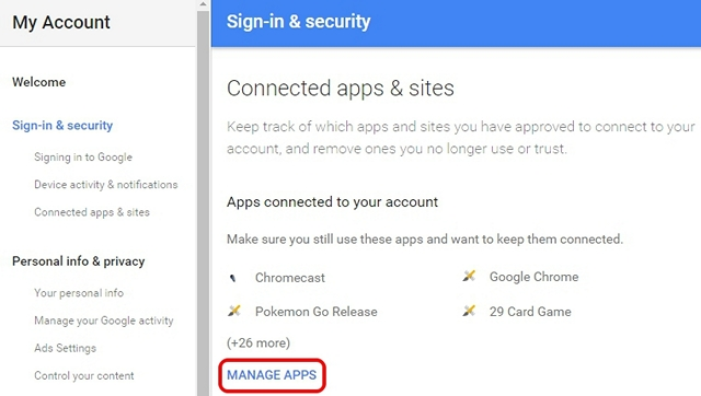 Google My Account sign & security
