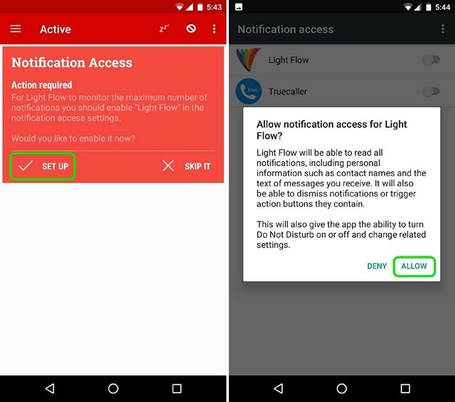 Light Flow Notification Access