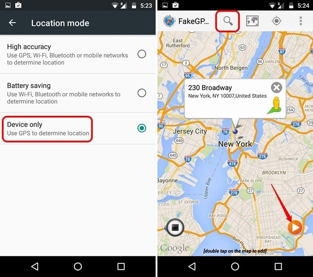 Location settings and Fake Location Spoofer app-min (1)