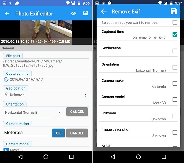 Photo EXIF Editor app Android