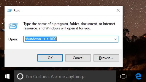 Run auto shutdown windows 10 PC