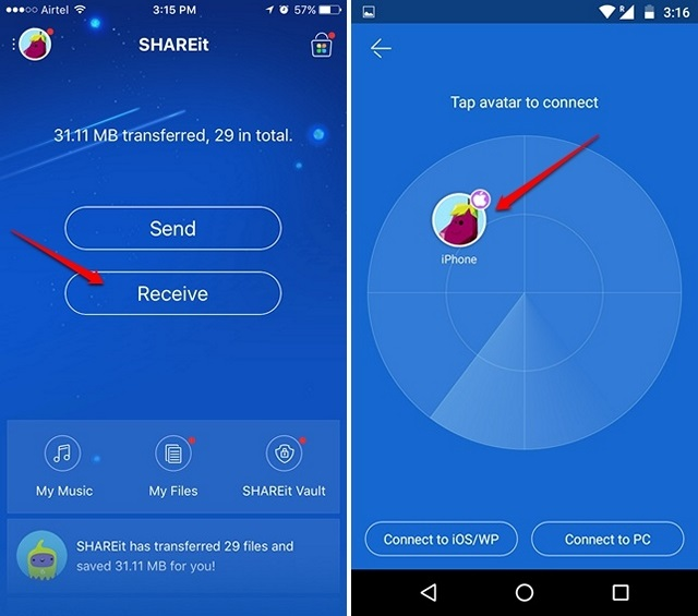 SHAREit receive files on Android phone