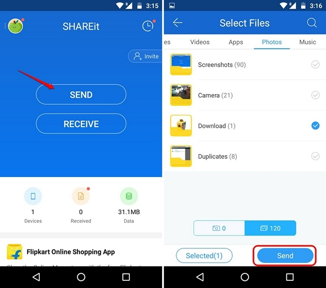 SHAREit send files from Android
