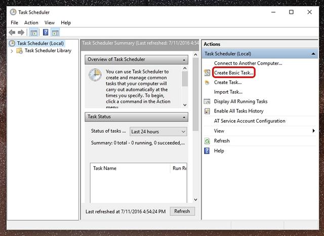 Task Scheduler on Windows 10