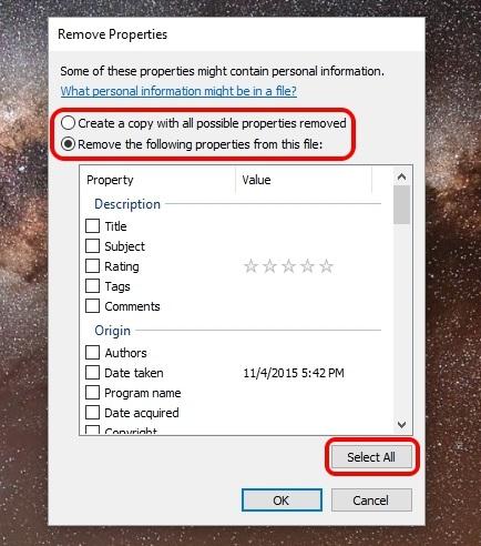 Windows remove EXIF data