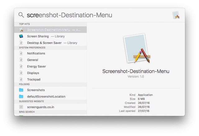change default screenshot location on mac app in spotlight