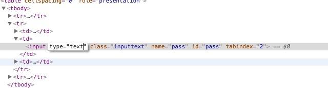 view password hidden behind asterisk change password type to text