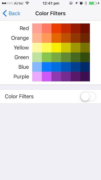 iOS 10 tricks color filters