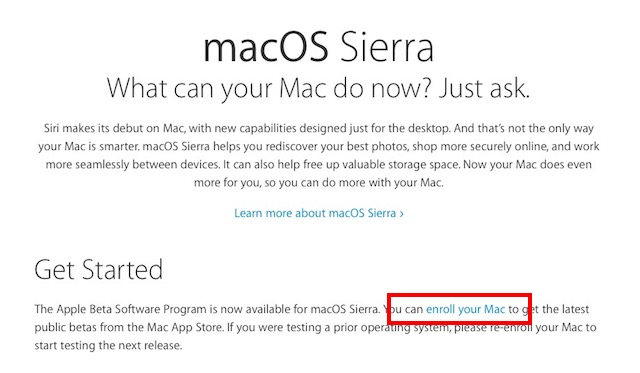 macOS Sierra Public Beta enroll mac