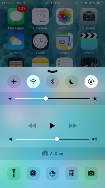 iOS 9: Control Center