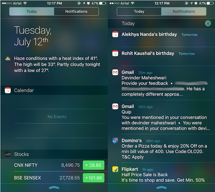 iOS 9: Today View and Notification Center