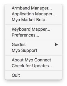 myo gesture control armband menu bar context menu