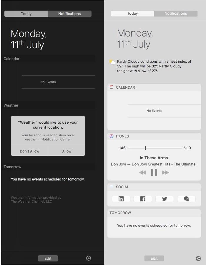 macOS Sierra notification center contrast