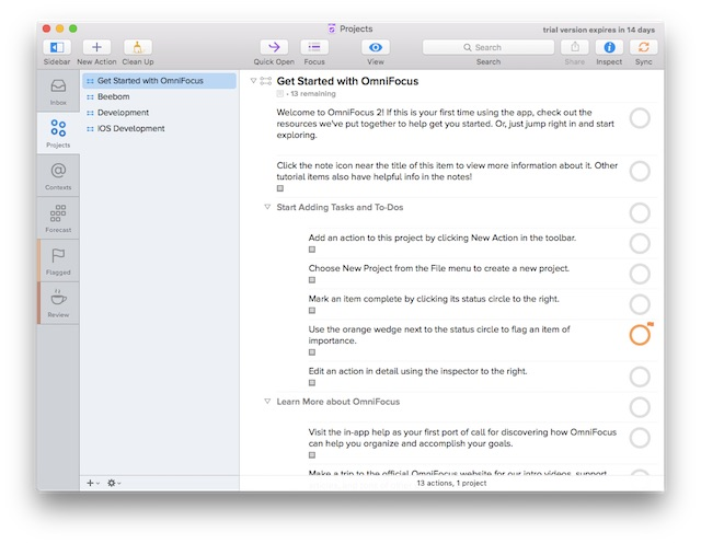 productivity on Mac omnifocus