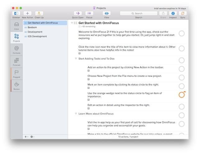 productivity on Mac omnifocus