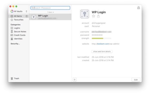 productivity on Mac onepassword
