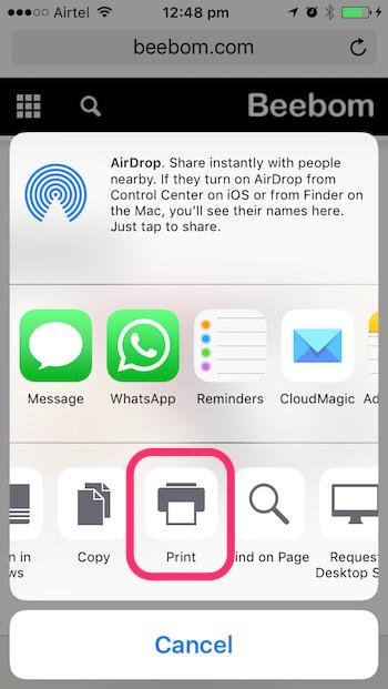 iOS 10 tricks print button in share menu