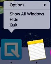 quip context menu