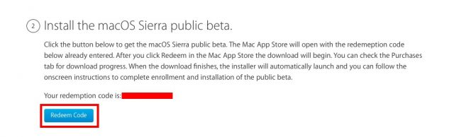macOS Sierra Public Beta redeem code