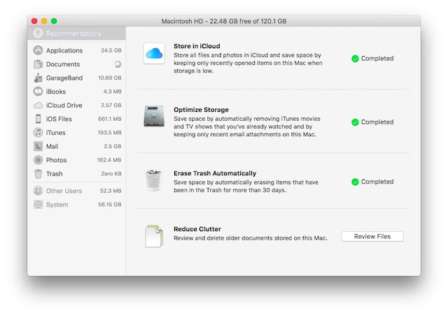 macOS Sierra storage_optimisation