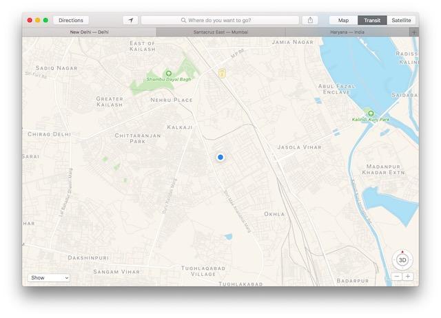macOS Sierra tabs in maps