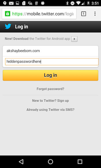 view password hidden behind asterisk twitter password visible